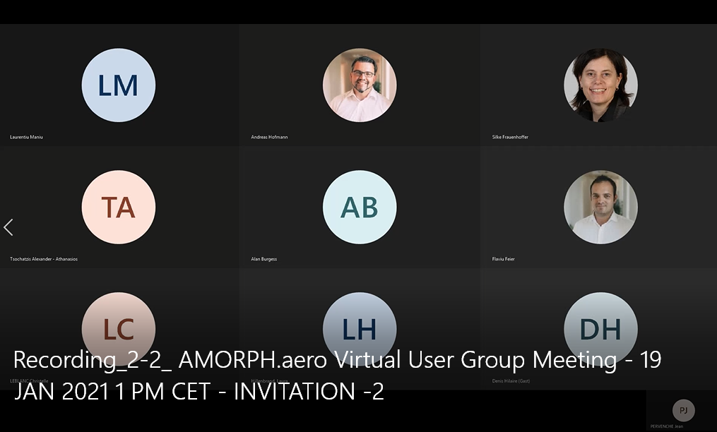 Virtual AMORPH.aero User group Meeting via Teams